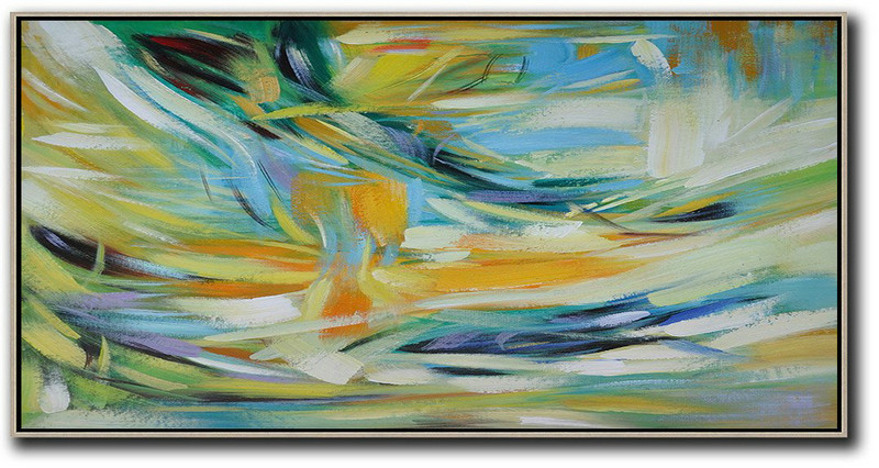 Extra Large Canvas Art,Horizontal Palette Knife Contemporary Art,Contemporary Wall Art,Yellow,Blue,White,Green.etc
