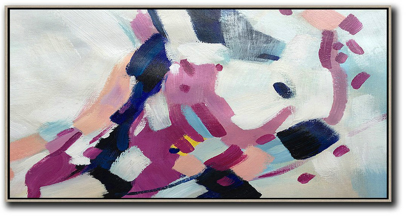 Large Abstract Painting,Horizontal Palette Knife Contemporary Art,Custom Canvas Wall Art,White,Nude,Purple,Dark Blue.etc