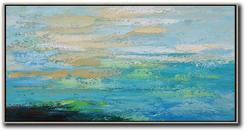Large Abstract Art Handmade Painting,Horizontal Palette Knife Contemporary Art,Large Wall Art Home Decor,Blue,Yellow,Black,Green.etc
