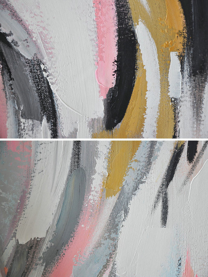 Extra Large Painting,Oversized Panoramic Palette Knife Abstract Floral Painting On Canvas,Unique Canvas Art,White,Grey,Pink,Earthy Yellow,Black.etc