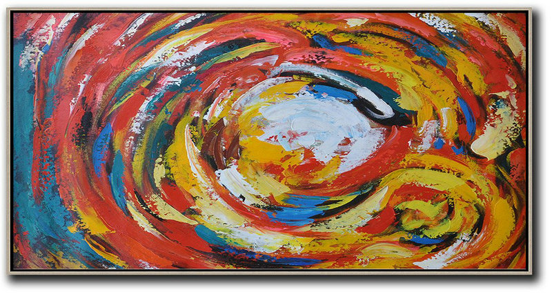 Large Abstract Painting On Canvas,Horizontal Palette Knife Abstract Flower Art,Modern Abstract Wall Art,White,Red,Yellow,Blue.etc