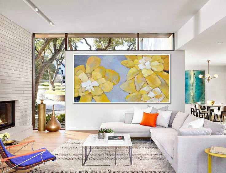 Extra Large Abstract Painting On Canvas,Horizontal Palette Knife Contemporary Art,Extra Large Canvas Painting,Dusty Blue,Yellow,White.etc