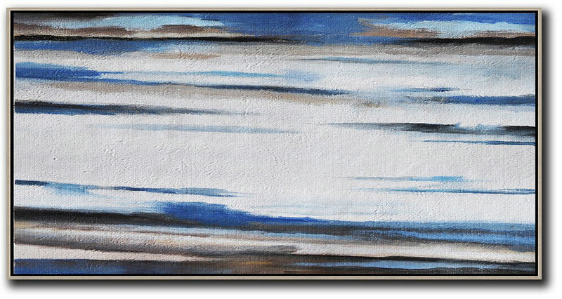 Large Abstract Art,Hand Painted Panoramic Abstract Painting,Artwork For Sale,White,Blue,Brown.etc