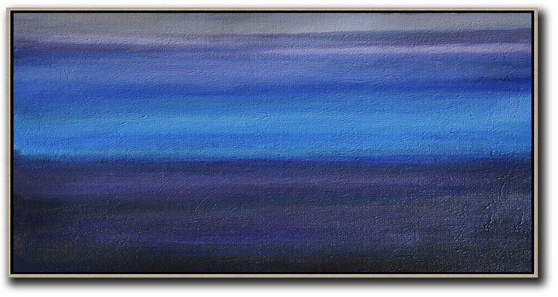 Extra Large Acrylic Painting On Canvas,Hand Painted Panoramic Abstract Painting,Acrylic Painting On Canvas,Grey,Blue,Black.etc