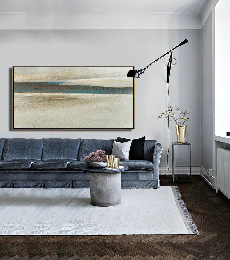 Original Abstract Painting Extra Large Canvas Art,Hand Painted Panoramic Abstract Painting,Large Abstract Wall Art,Light Yellow,Black,Brown.etc - Click Image to Close