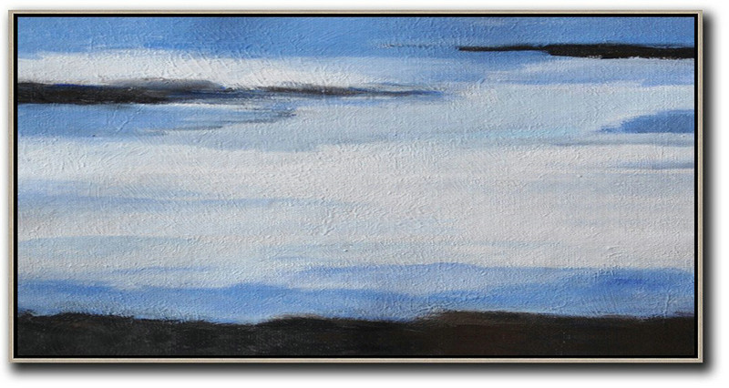 Handmade Extra Large Contemporary Painting,Hand Painted Panoramic Abstract Painting,Modern Canvas Art,White,Blue,Black.etc