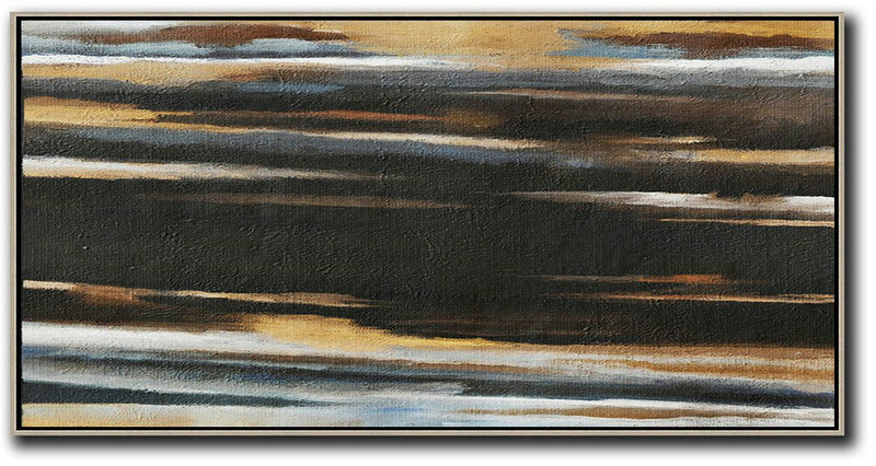Abstract Painting Extra Large Canvas Art,Hand Painted Panoramic Abstract Painting,Abstract Oil Painting,Earthy Yellow ,Black,White.etc