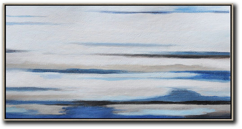 Extra Large Canvas Art,Hand Painted Panoramic Abstract Painting,Modern Paintings,White,Grey,Blue,Black.etc