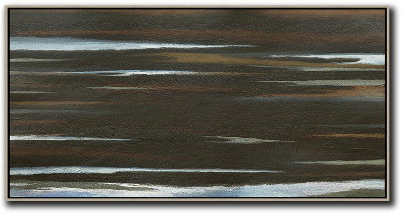 "Extra Large 72"" Acrylic Painting,Hand Painted Panoramic Abstract Painting,Art Work,Black,Brown,White.etc"