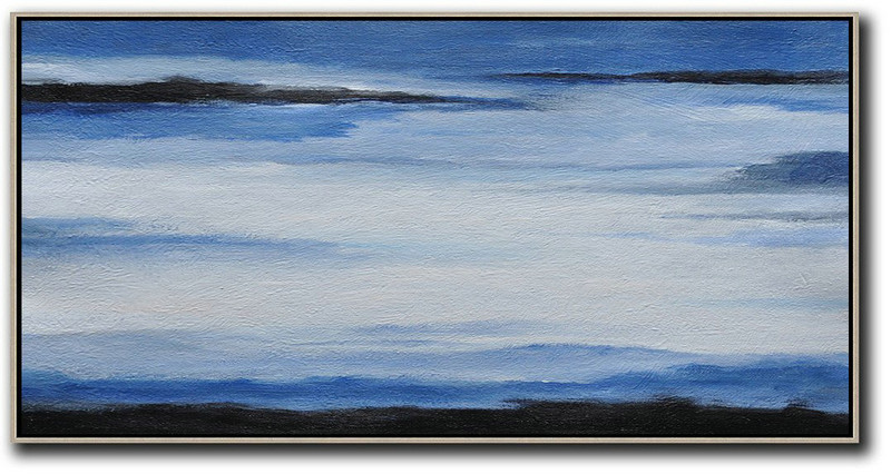 Hand Made Abstract Art,Hand Painted Panoramic Abstract Painting,Modern Art,Blue,White,Black.etc