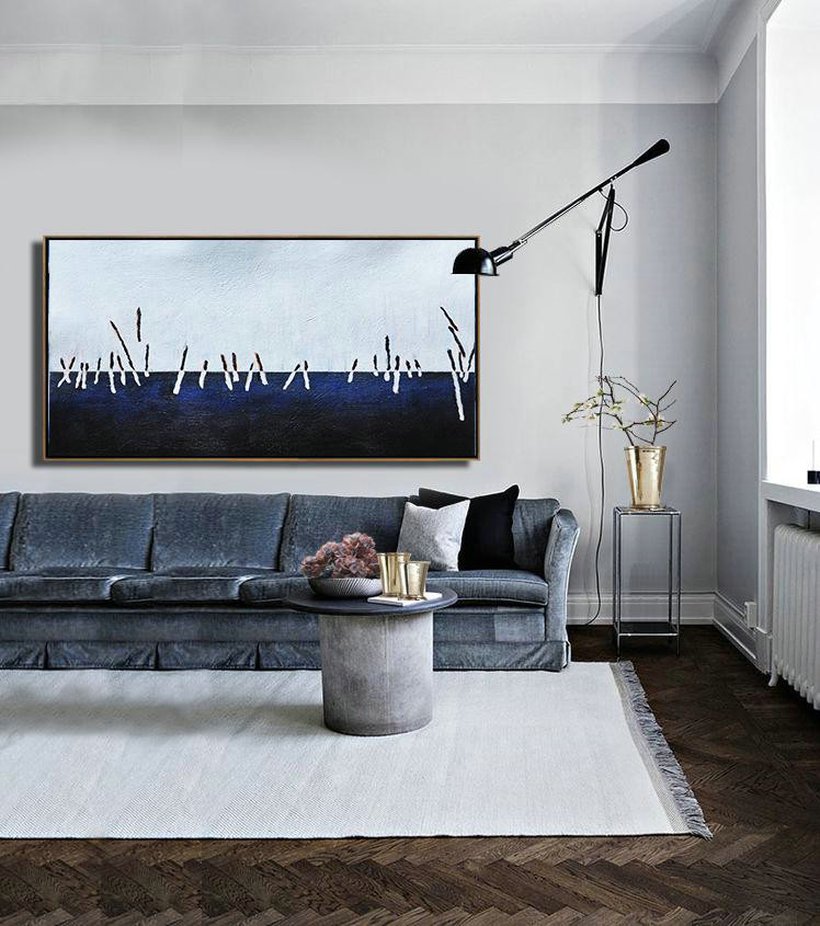 Large Abstract Art,Hand Painted Panoramic Abstract Painting,Colorful Wall Art,White,Grey,Dark Blue,Black.etc