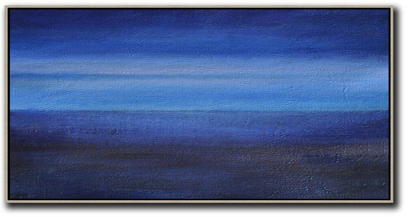 Handmade Large Contemporary Art,Hand Painted Panoramic Abstract Painting,Canvas Wall Paintings,Dark Blue,Light Blue,Black.etc