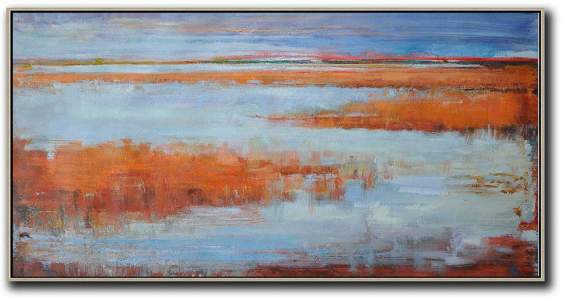 Handmade Large Contemporary Art,Panoramic Abstract Landscape Painting,Modern Art,Blue,Orange,Red.etc