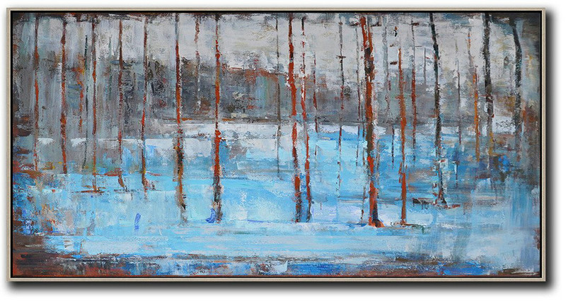 Handmade Painting Large Abstract Art,Panoramic Abstract Landscape Painting,Hand Made Original Art,Grey,Light Blue,Red.etc