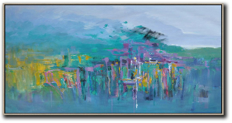 Large Abstract Painting Canvas Art,Panoramic Abstract Landscape Painting,Modern Art Abstract Painting,Blue,Yellow,Purple,Green.etc