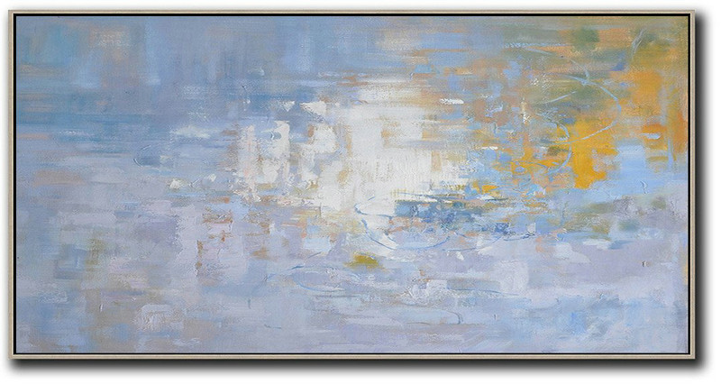 Large Contemporary Art Acrylic Painting,Panoramic Abstract Landscape Painting,Acrylic Painting Large Wall Art,Light Blue,Yellow,White.etc