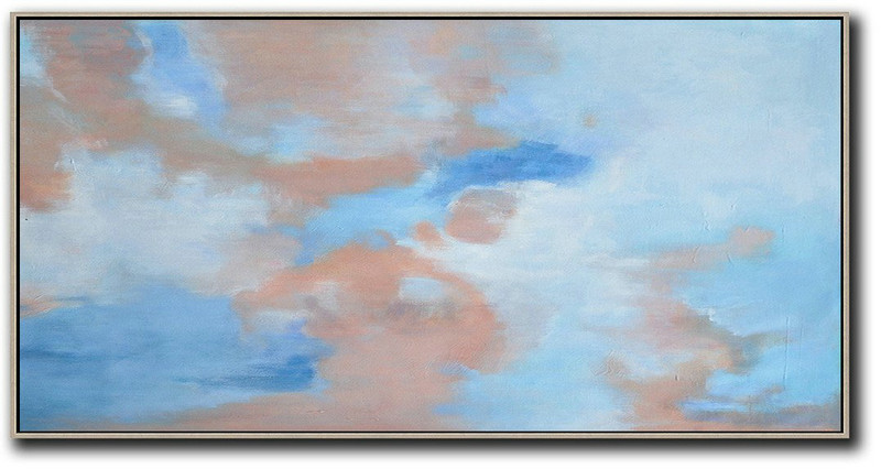 Handmade Large Contemporary Art,Panoramic Abstract Landscape Painting,Large Canvas Art,Modern Art Abstract Painting,Nude,Blue,White.etc