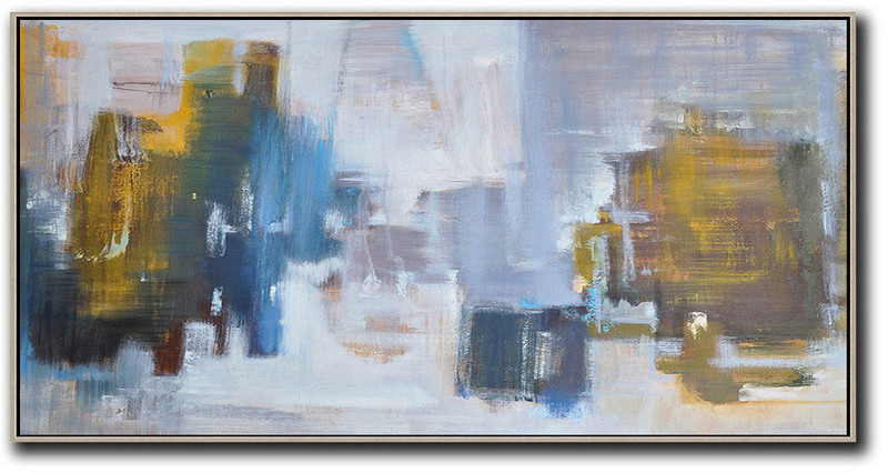 Large Contemporary Art Acrylic Painting,Panoramic Abstract Landscape Painting,Original Art Acrylic Painting,Yellow,Blue,White,Grey.etc