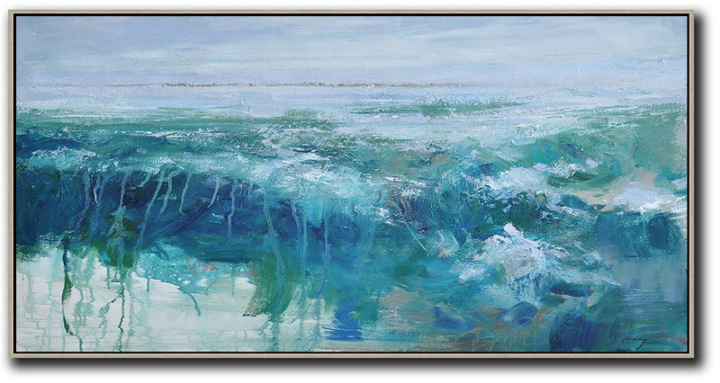 Hand Painted Extra Large Abstract Painting,Panoramic Abstract Landscape Painting,Acrylic Painting On Canvas,Sky Blue,Green,Dark Blue.etc