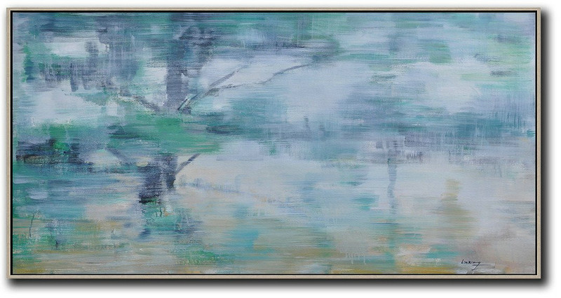Abstract Painting Extra Large Canvas Art,Panoramic Abstract Landscape Painting,Acrylic Painting Large Wall Art,Blue Grey,Green,White,Yellow.etc