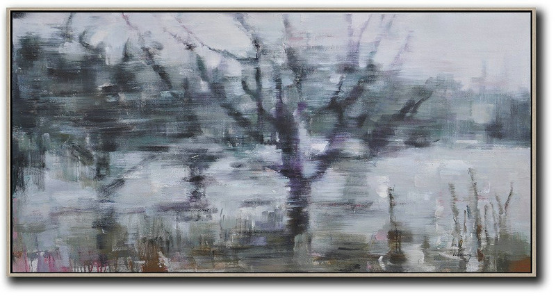 Extra Large Canvas Art,Panoramic Abstract Landscape Painting,Big Canvas Painting,Dark Green,Purple,Grey,White.etc
