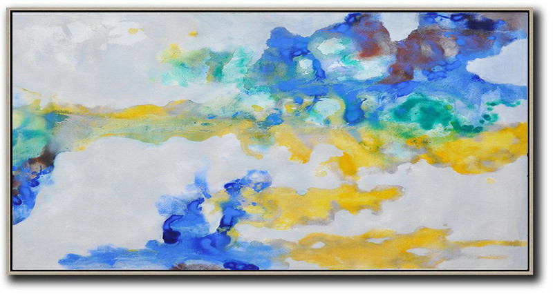 Original Painting Hand Made Large Abstract Art,Panoramic Abstract Oil Painting On Canvas,Canvas Artwork For Sale,Grey,Yellow,Blue.etc