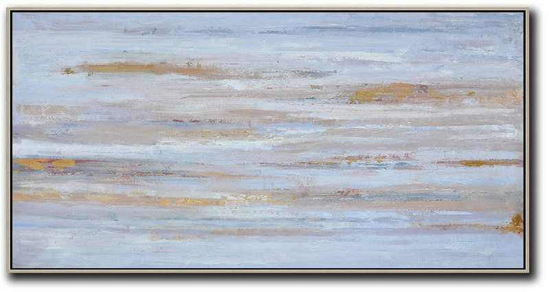 Hand Made Abstract Art,Panoramic Abstract Oil Painting On Canvas,Large Canvas Art,Dusty Blue,Yellow,Pink.etc
