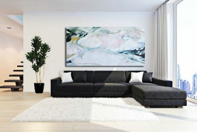 Abstract Painting Extra Large Canvas Art,Large Panoramic Abstract Art On Canvas,Giant Canvas Wall Art,White,Pink,Green.etc