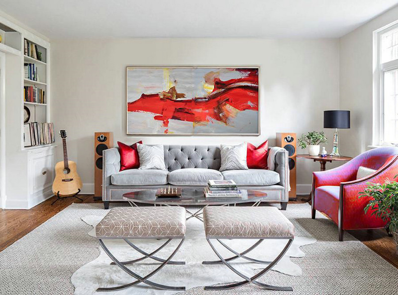 Extra Large Acrylic Painting On Canvas,Horizontal Palette Knife Contemporary Art Panoramic Canvas Painting,Large Wall Canvas,Red,Grey,Yellow.etc