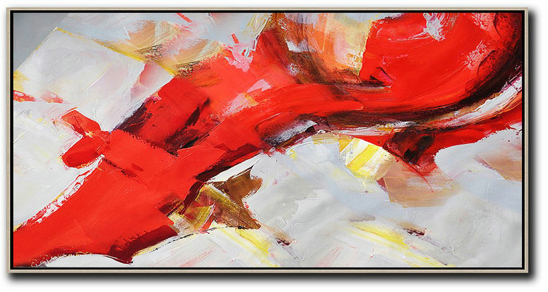 Original Abstract Painting Extra Large Canvas Art,Horizontal Palette Knife Contemporary Art Panoramic Canvas Painting,Huge Canvas Art On Canvas,Red,White,Yellow.etc