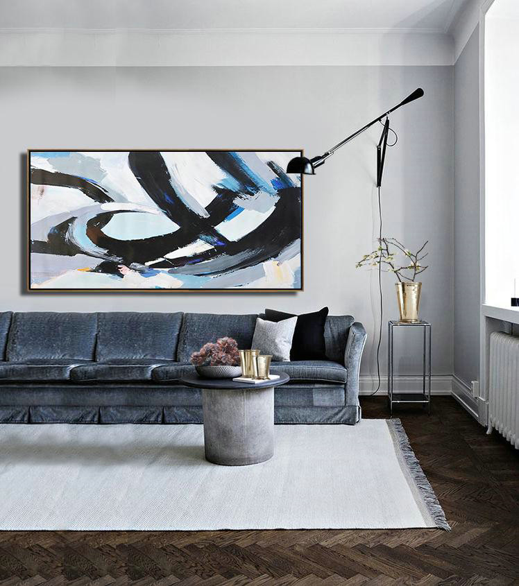 Handmade Large Painting,Horizontal Palette Knife Contemporary Art Panoramic Canvas Painting,Modern Paintings On Canvas,Black,White,Grey,Blue.etc