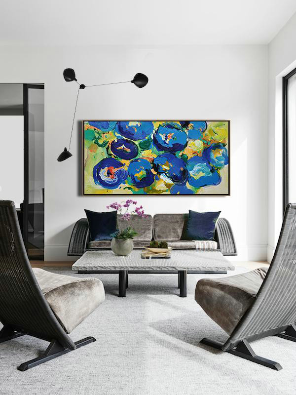 "Extra Large 72"" Acrylic Painting,Horizontal Palette Knife Contemporary Art Panoramic Canvas Painting,Large Oil Canvas Art,Blue,Yellow,Green.etc"