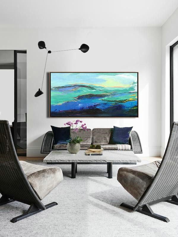 Extra Large Textured Painting On Canvas,Horizontal Palette Knife Abstract Landscape Art Panoramic Canvas Painting,Extra Large Paintings,Dark Blue,Green,Black,Yellow.etc