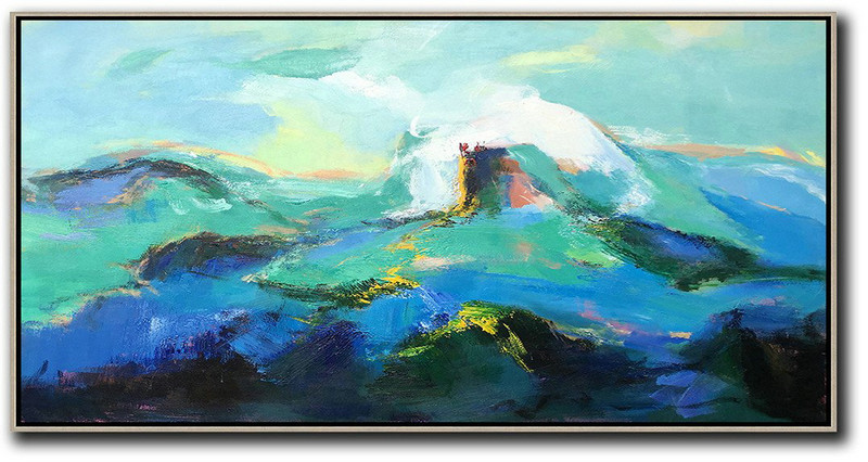 Hand Made Abstract Art,Horizontal Palette Knife Abstract Landscape Art Panoramic Canvas Painting,Large Canvas Wall Art For Sale,Blue,Green,White,Black.etc