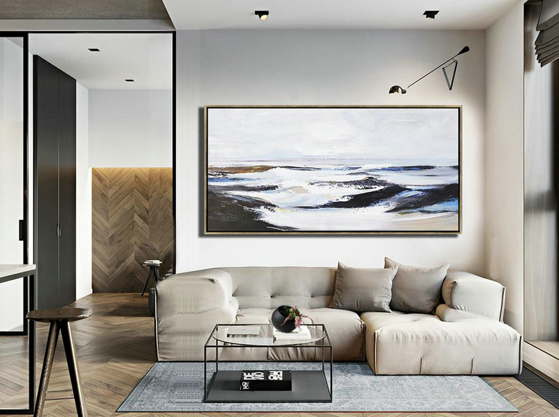 Abstract Painting Extra Large Canvas Art,Horizontal Palette Knife Landscape Art Panoramic Canvas Painting,Modern Wall Decor,White,Grey,Blue,Brown,Black.etc