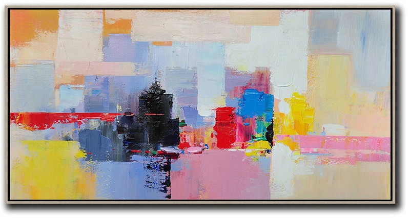 Oversized Canvas Art On Canvas,Horizontal Palette Knife Contemporary Art Panoramic Canvas Painting,Big Art Canvas,Black,Pink,Yellow,Red,Blue.etc