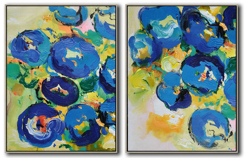 Handmade Large Contemporary Art,Set Of 2 Abstract Flower Painting On Canvas,Large Contemporary Painting,Yellow,Blue,Green.etc