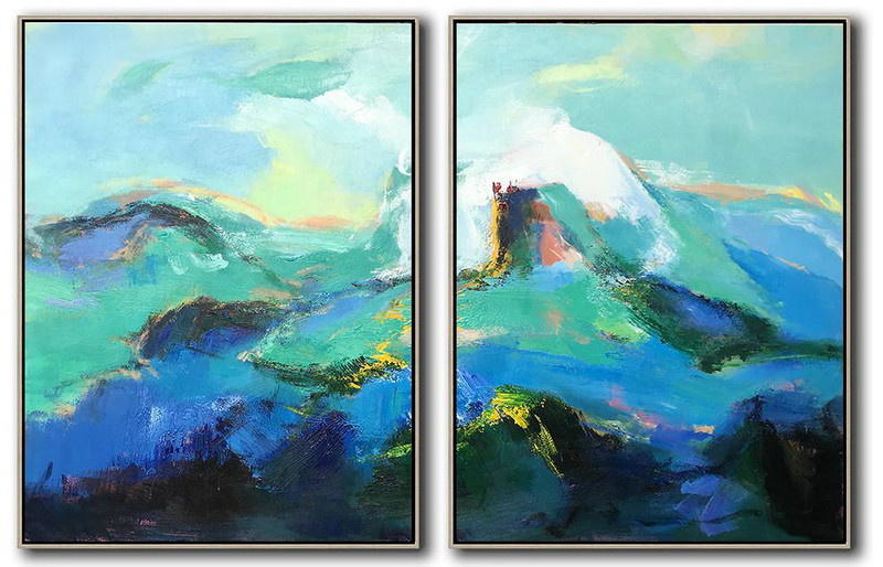 Hand Painted Extra Large Abstract Painting,Set Of 2 Abstract Landscape Painting On Canvas,Contemporary Art Canvas Painting,Green,Blue,Black,White.etc