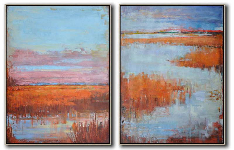 Extra Large Canvas Art,Set Of 2 Abstract Landscape Painting On Canvas,Hand-Painted Canvas Art,Blue,Pink,Red.etc