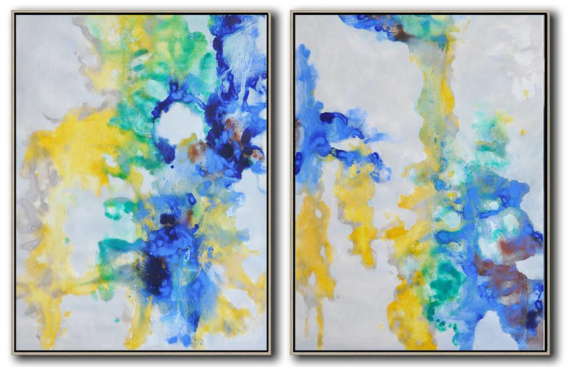 Extra Large Abstract Painting On Canvas,Set Of 2 Abstract Oil Painting On Canvas,Original Abstract Painting Canvas Art,Grey,Yellow,Green,Blue.etc