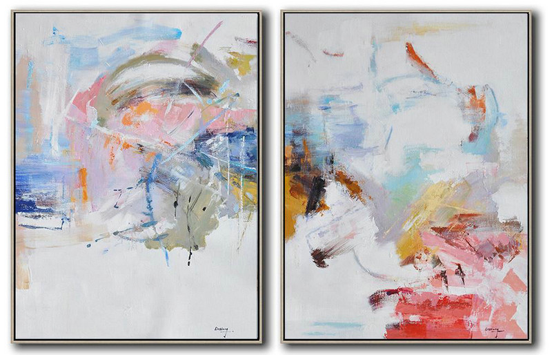 Hand Painted Extra Large Abstract Painting,Set Of 2 Abstract Oil Painting On Canvas,Modern Wall Art,White,Grey,Yellow,Pink,Red.etc