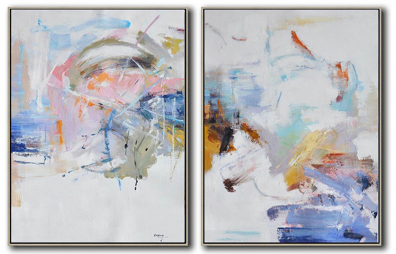 Hand Painted Extra Large Abstract Painting,Set Of 2 Abstract Oil Painting On Canvas,Large Wall Art Home Decor,White,Grey,Pink,Blue,Yellow.etc