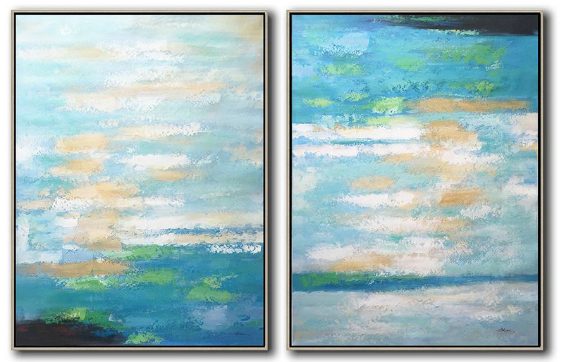 Large Abstract Art,Set Of 2 Abstract Painting On Canvas,Living Room Wall Art,Blue,Yellow,Green.etc