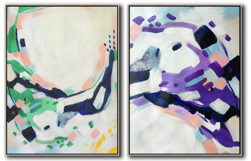 Original Painting Hand Made Large Abstract Art,Set Of 2 Abstract Painting On Canvas,Abstract Painting Modern Art,White,Pink,Purple,Green,Dark Blue.etc