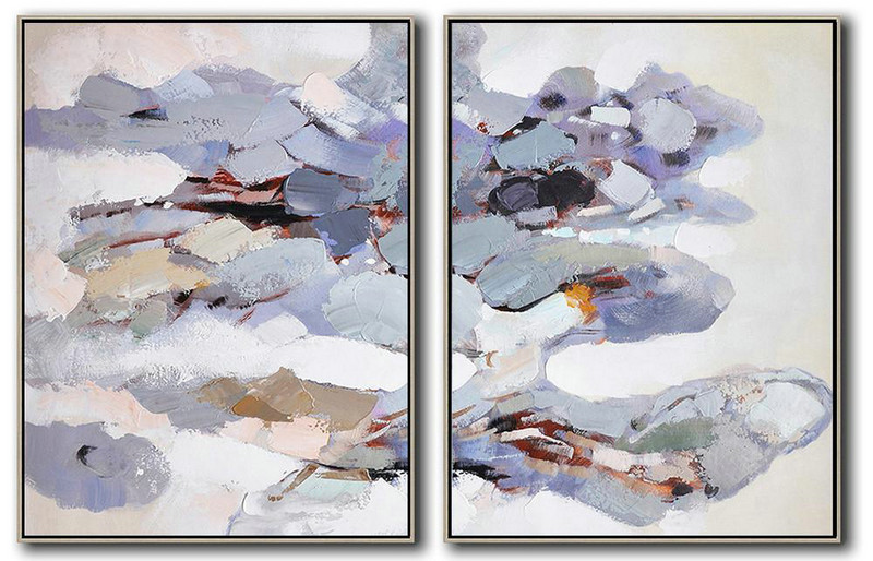 Extra Large Canvas Art,Set Of 2 Abstract Painting On Canvas,Modern Canvas Art,White,Grey,Purple,Yellow.etc
