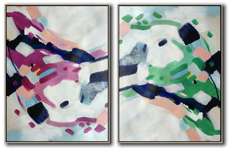 Extra Large Acrylic Painting On Canvas,Set Of 2 Abstract Painting On Canvas,Large Canvas Art,Grey,Purple,Green,Pink.Dark Blue.etc