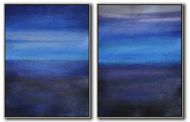 Extra Large Painting,Set Of 2 Abstract Painting On Canvas,Handmade Acrylic Painting,Light Blue,Dark Blue,Grey,Black.etc