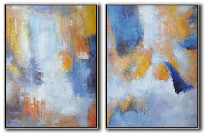 Abstract Painting Extra Large Canvas Art,Set Of 2 Abstract Painting On Canvas,Acrylic Minimailist Painting,Blue,White,Orange,Yellow.etc