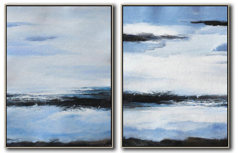 Handmade Extra Large Contemporary Painting,Set Of 2 Abstract Painting On Canvas,Original Art Acrylic Painting,Blue,White,Black.etc