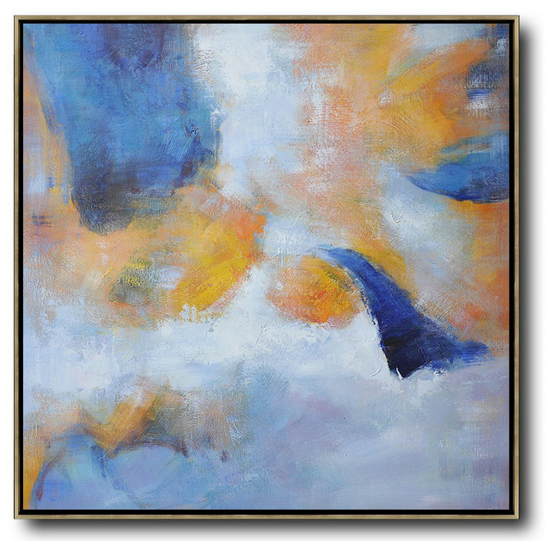 Original Extra Large Wall Art,Oversized Square Abstract Art,Contemporary Art Wall Decor,White,Blue,Yellow.etc
